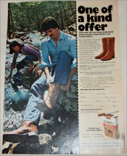 1976 Camel Filters Cigarette Boot ad