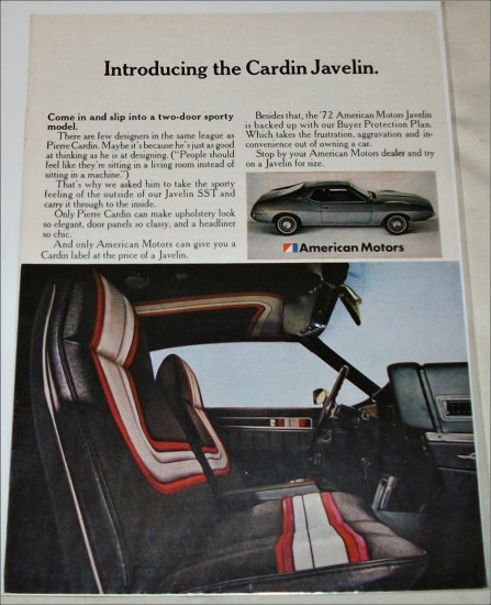 1972 American Motors Cardin Javelin car ad