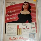 1947 Max Factor Lipstick ad featuring Marguerite Chapman