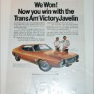 1973 American Motors Trans Am Victory Javelin car ad