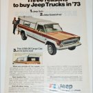 1973 American Motors Jeep pickup truck ad tan & white