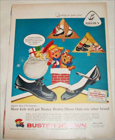 1957 Brown Buster Brown Shoes Christmas ad