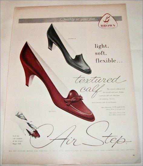 1957 Brown Air Step Rambler & Dundee Shoes ad