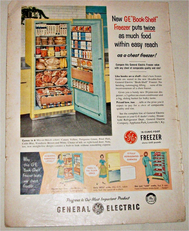 1956 GE Bookshelf Freezer ad
