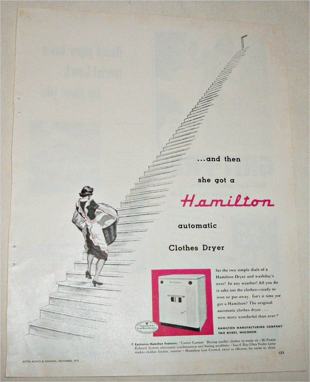 1951 Hamilton Automatic Cloths Dryer ad
