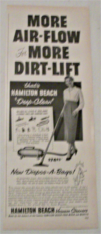 1951 Hamilton Beach Deep-Clean Vacuum Cleaners ad