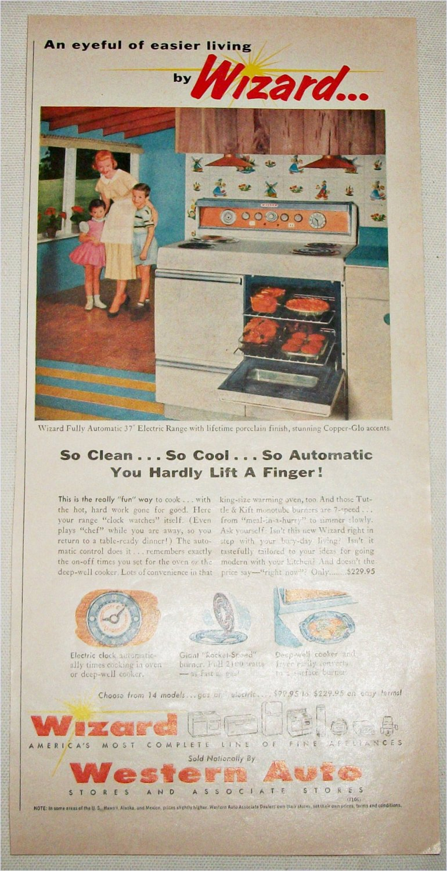 1956 Western Auto Wizard Electric Range ad