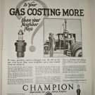 1925 Champion Spark Plugs ad