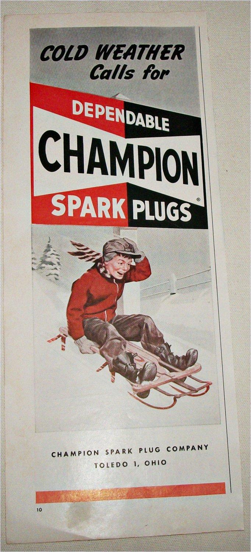 1951 Champion Spark Plugs ad