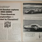 1968 Champion Spark Plugs ad featuring Mark Donohue