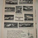 1969 Champion Spark Plugs Champions Use Champions ad