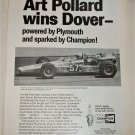 1969 Champion Spark Plugs ad featuring Art Pollard