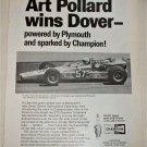 1969 Champion Spark Plugs ad featuring Art Pollard
