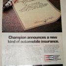 1984 Champion Spark Plugs Insurance ad