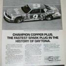 1985 Champion Copper Plus Spark Plugs ad featuring Bill Elliot