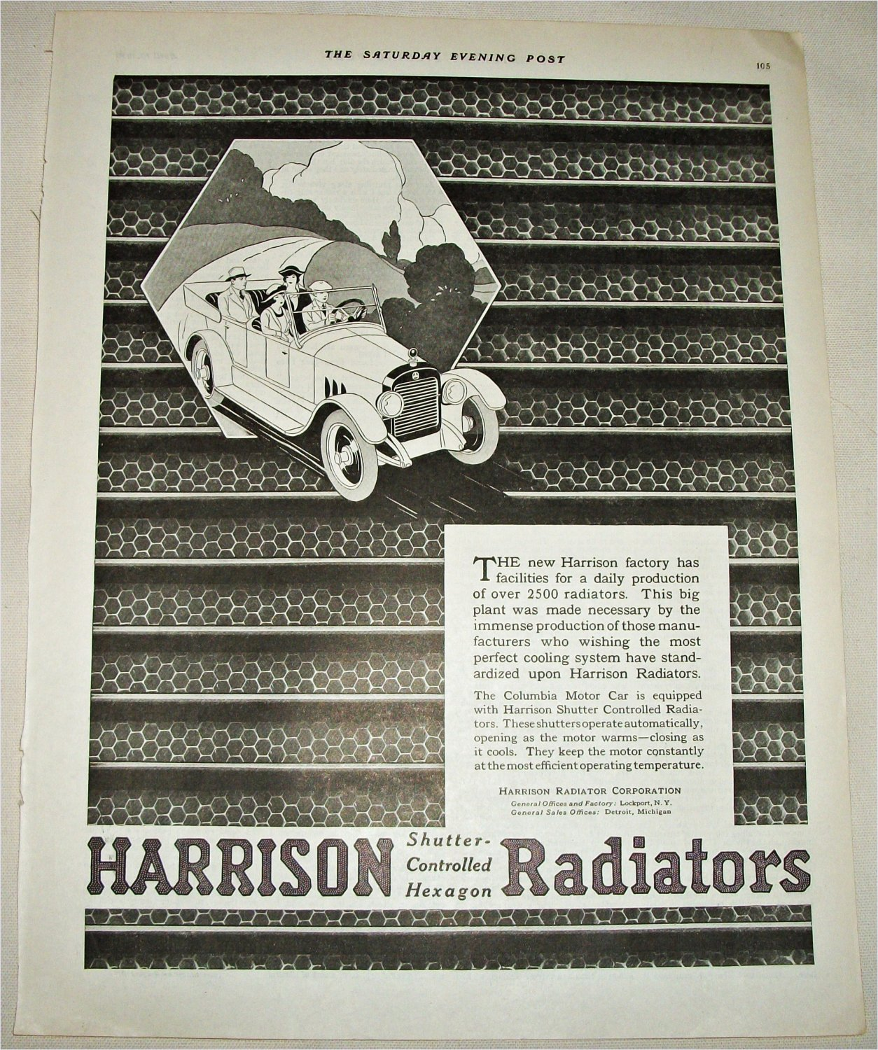 1920 Harrison Radiators ad