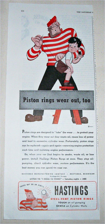 1947 Hastings Piston Rings ad