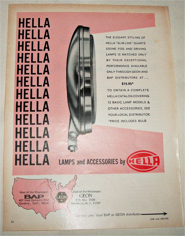 1968 Hella Lamps ad