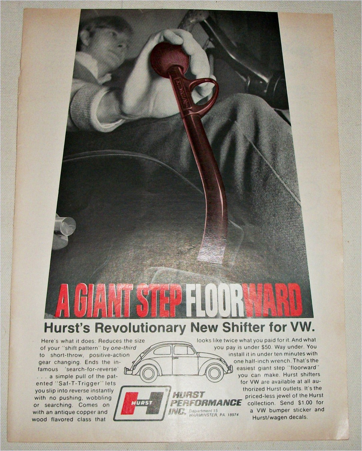 1970 Hurst Floorward VW Shifter ad