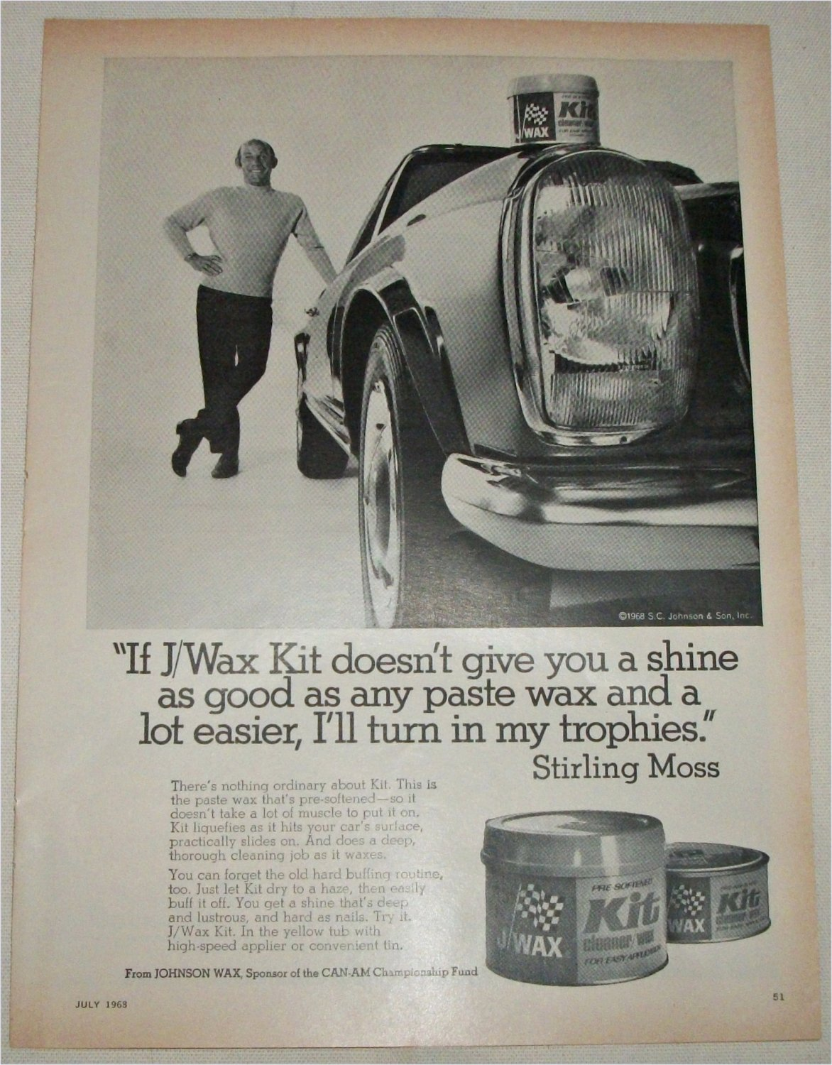 1968 J Wax ad featuring Stirling Moss