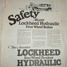 1925 Lockheed Hydraulic Brakes ad