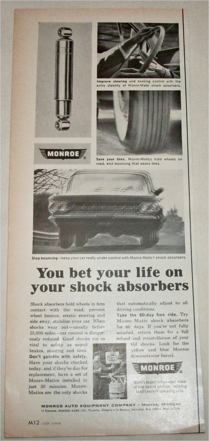 1964 Monroe-Matic Shock Absorbers ad