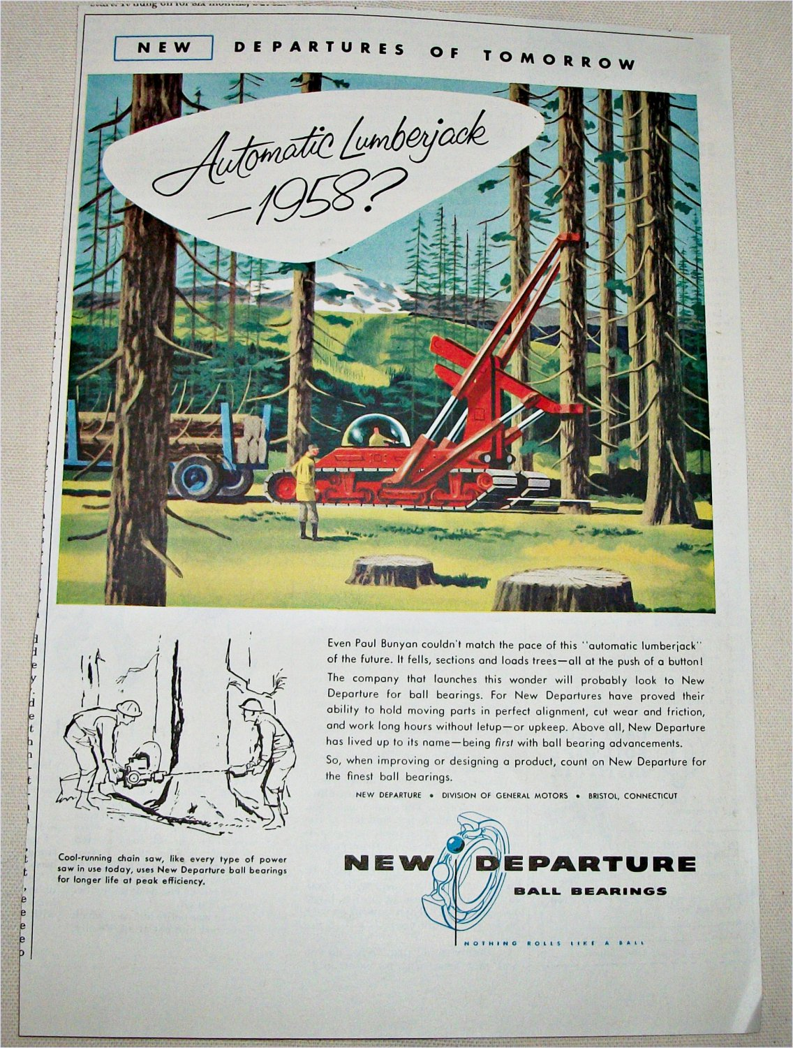 1955 New Depature Ball Bearings ad