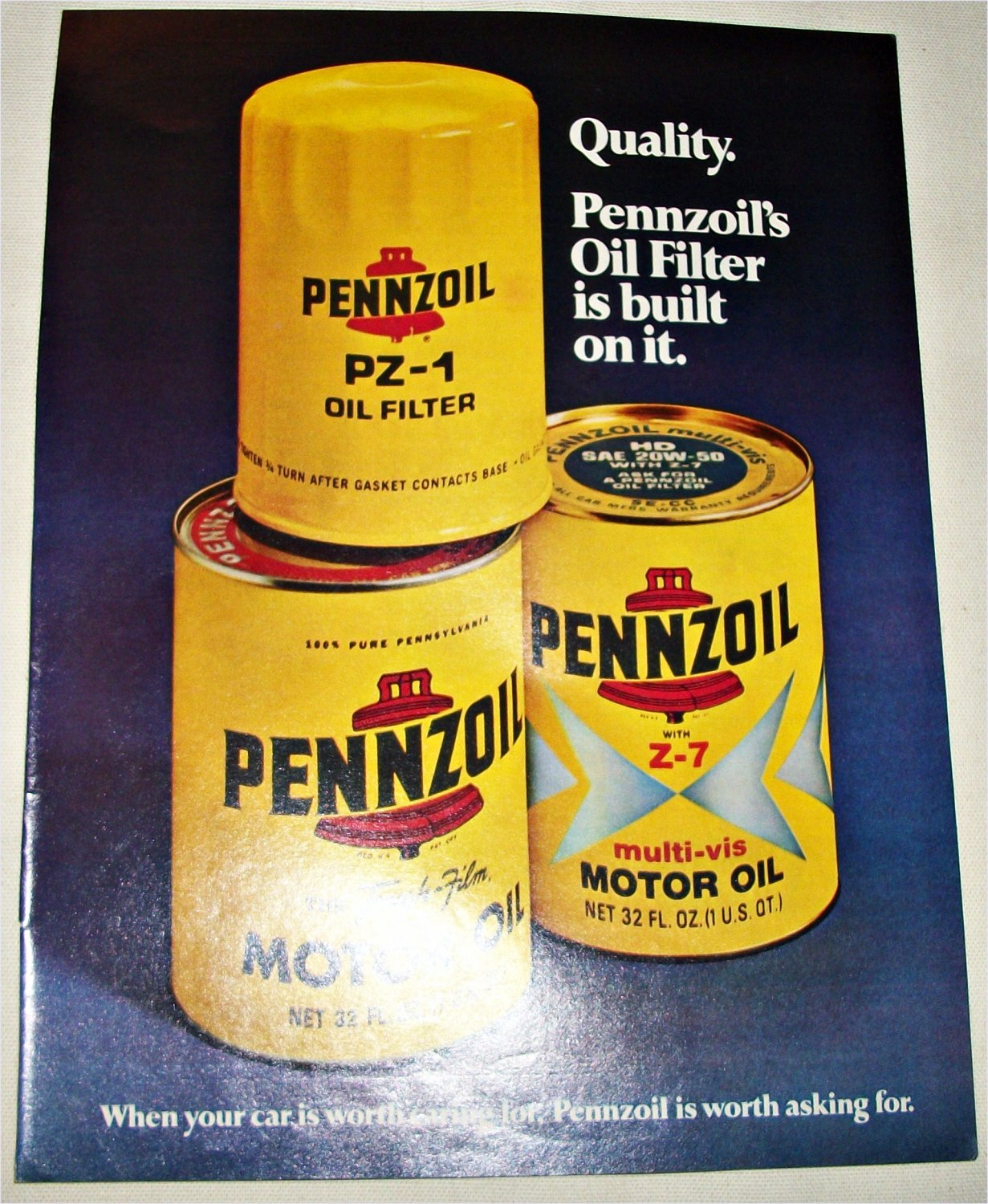 1976 Pennzoil Oil Filters ad