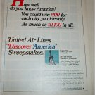 1967 United Airlines Sweepstakes ad