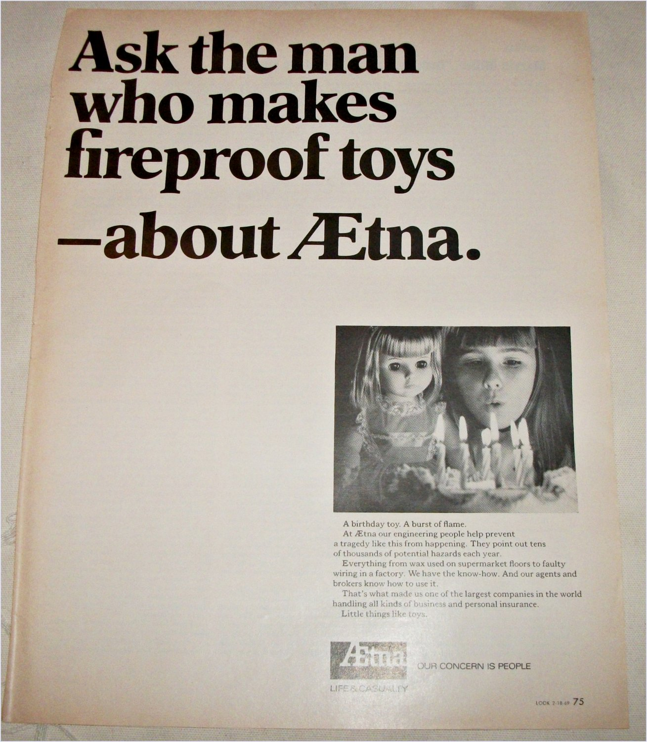1969 Aetna Life & Casualty Insurance ad