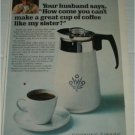 1967 Corning Ware Coffee Maker ad