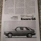 1985 American Motors Renault Encore article
