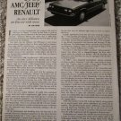 1985 American Motors /Jeep /Renaualt article
