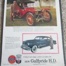 Gulfpride ad featuring a 1913 American Underslung Touring car