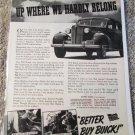 1938 Buick 4 dr sedan Up Where car ad