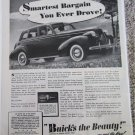 1939 Buick 4 dr sedan Smartest Bargain car ad