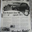 1940 Buick Super 4 dr sedan New Features Into 40 car ad