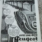 1936 Peugeot 402 4 dr sedan car ad