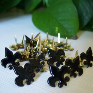 Fleur de Lis Brads - Black