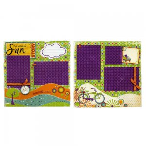 PreMade Scrapbook Page Set - Here Comes The Sun