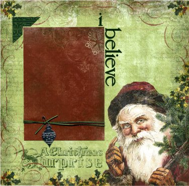 Premade Christmas Scrapbook Page - I Believe