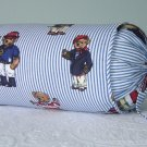 RALPH LAUREN CUSTOM TEDDY BEAR STRIPE 14X6 BOLSTER PILLOW WITH SELF COVERED PIPING