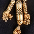 Pendant Antique VICTORIAN 3 Brass Tubular chain from dress
