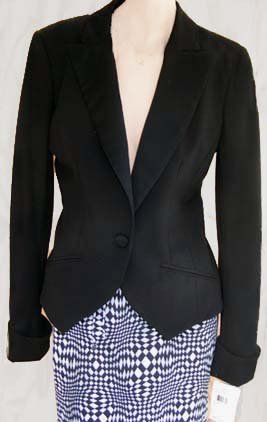Womens jacket Black Nicole Miller Sz 6 New Fitted Cropped blazer