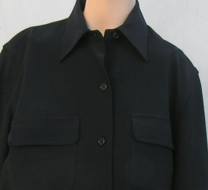Ralph Lauren Blouse Sz 6 Black top Womens Navy LS wool