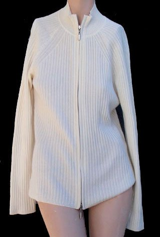Womens Cashmere Cardigan sweater Nordstrom LG Zipper Front  S White
