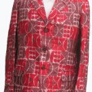 Mens Vintage Blazer Handloom 38 Red gold Graphics Silk mens Vintage clothing