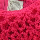 Vintage Maxi Dress Crochet Hot Pink Fuschia Scoop neck Katrina M 50s 60s Womens dress