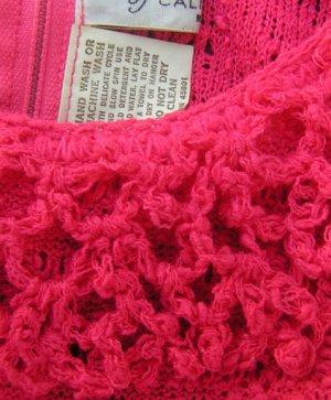 Vintage Maxi Dress Crochet Hot Pink Fuschia Scoop neck Katrina M 50s 60s Womens dress
