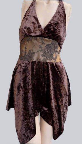 Miss MeTunic top Halter Blouse Velvet silk M Embellished USA
